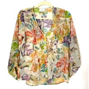 Pins & Needles XS Sheer Floral Print Blouse